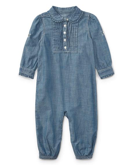 Ralph Lauren Childrenswear Chambray Ruffle-Trim Coverall, Size