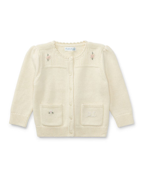 Ralph Lauren Childrenswear Wool-Blend Flower Embroidered