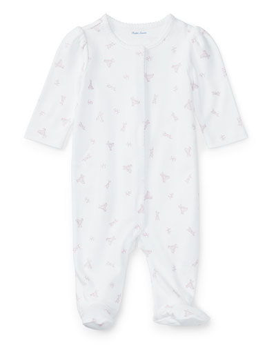 Logo-Printed Cotton Coverall, Size Newborn-9 Months
