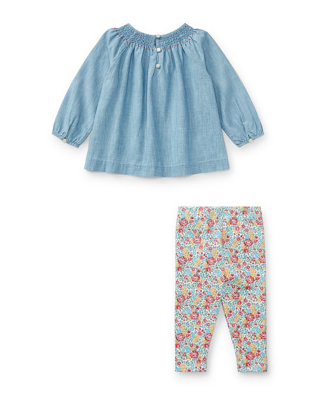 Long-Sleeve Chambray Top w/ Floral Leggings, Size 9-24 Months