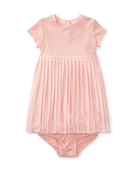 Ralph Lauren Childrenswear Stretch Jersey Accordion-Pleat Dress