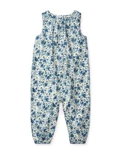 Cotton Poplin Floral-Print Playsuit, Size 3-12 Months