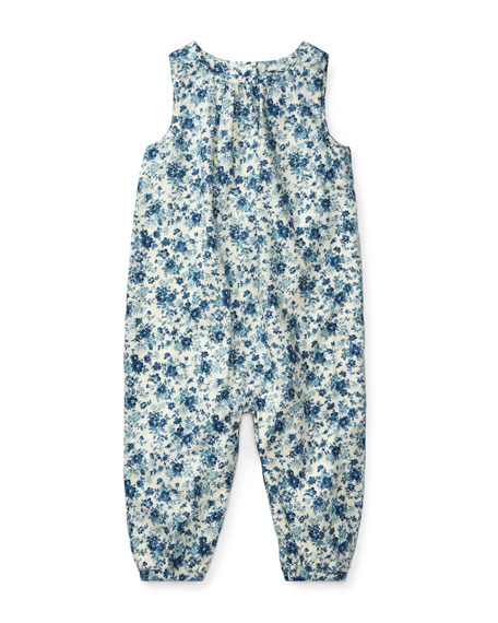 Ralph Lauren Childrenswear Cotton Poplin Floral-Print Playsuit,