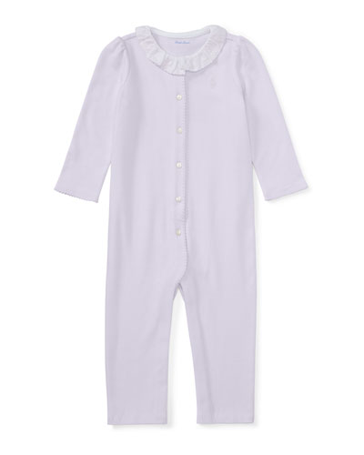 Ruffle-Collar Cotton Coverall, Size Newborn-9 Months