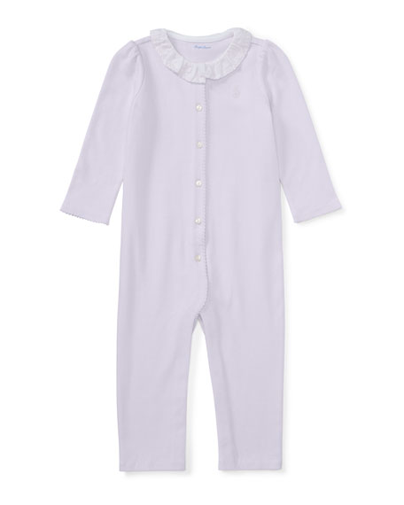 Ralph Lauren Childrenswear Ruffle-Collar Cotton Coverall, Size