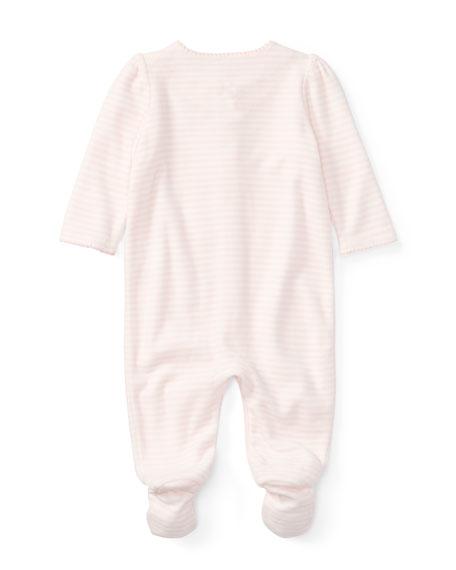 Velour Striped Footie Pajamas, Size Newborn-9 Months