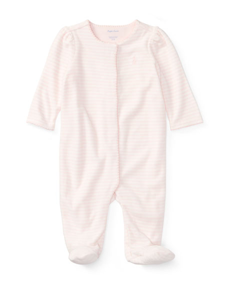 Ralph Lauren Childrenswear Velour Striped Footie Pajamas, Size