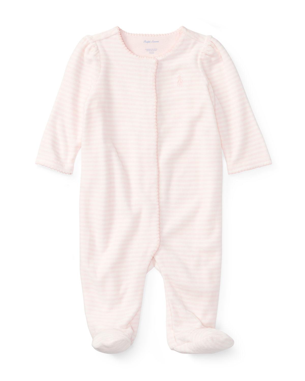 7564b948a Ralph Lauren Childrenswear Velour Striped Footie Pajamas, Size Newborn-9  Months