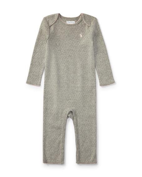 Ralph Lauren Childrenswear Pointelle Cotton Coverall, Gray, Size
