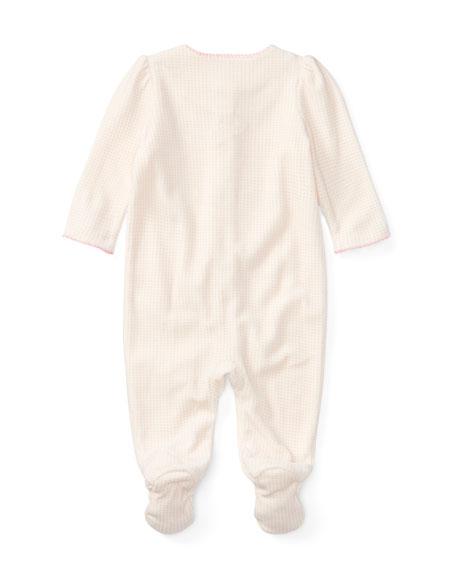 Velour Scallop-Trim Footie Pajamas, Size Newborn-9 Months
