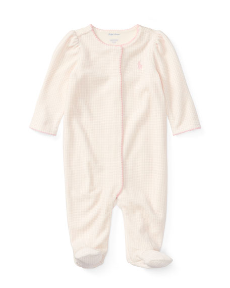 Ralph Lauren Childrenswear Velour Scallop-Trim Footie Pajamas,