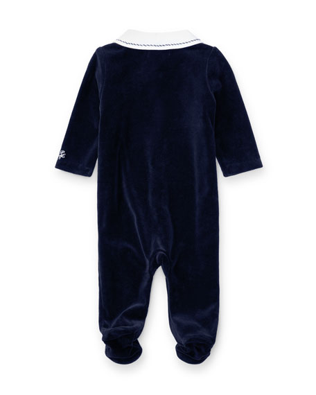 Two-Tone Velour Footie Pajamas, Navy, Size Newborn-9 Months