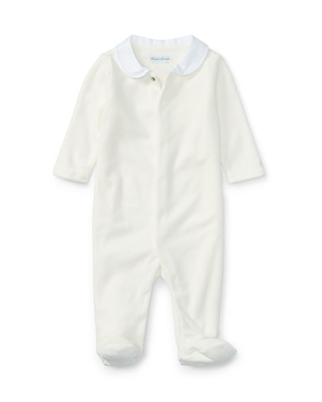 Ralph Lauren Childrenswear Peter Pan Collar Velour Footie