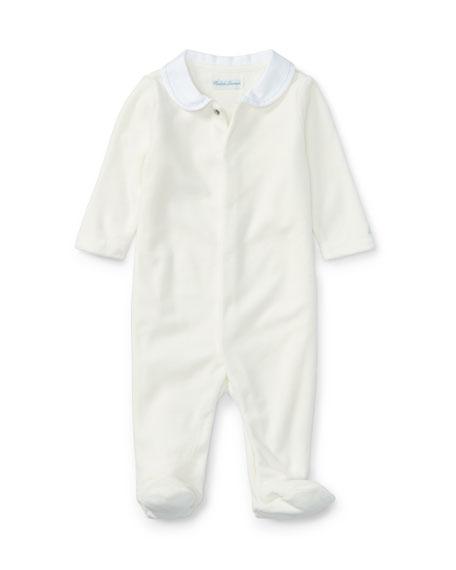 Peter Pan Collar Velour Footie Pajamas, White, Size Newborn-9 Months