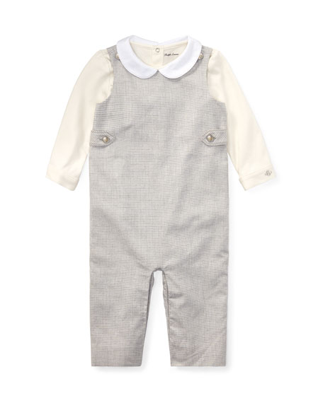 Ralph Lauren Childrenswear Plaid Overalls w/ Two-Tone Playsuit,