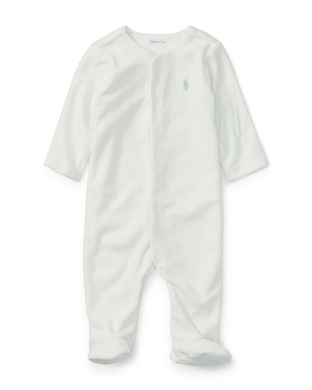 Tattersal Cotton Footie Pajamas, Size Newborn-9 Months