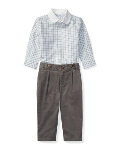 Tattersal Button-Down Dress Shirt w/ Brushed Twill Pants, Size 9-24 Months