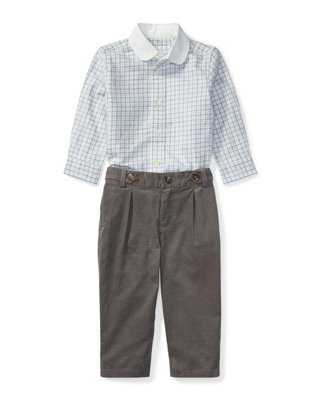 Ralph Lauren Childrenswear Tattersal Button-Down Dress Shirt w/