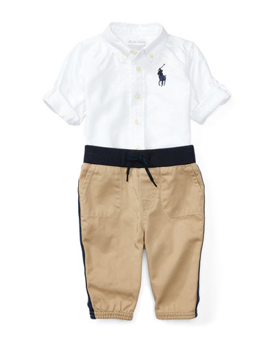 Oxford Shirt w/ Two-Tone Joggers, Size 9-24 Months