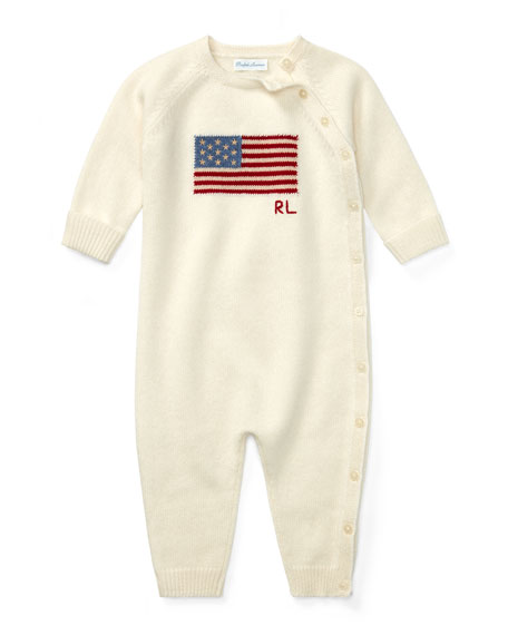 Ralph Lauren Childrenswear Knit Flag Coverall, Size 3-9