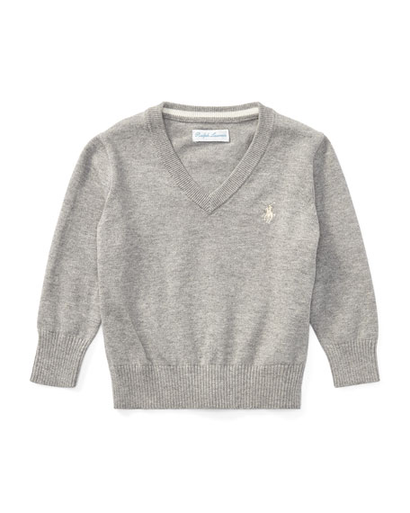 Ralph Lauren Childrenswear Long-Sleeve V-Neck Knit Sweater, Grey,