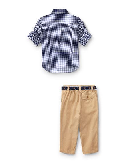 Poplin Gingham Button-Down Shirt w/ Pants & Belt, Size 9-24 Months