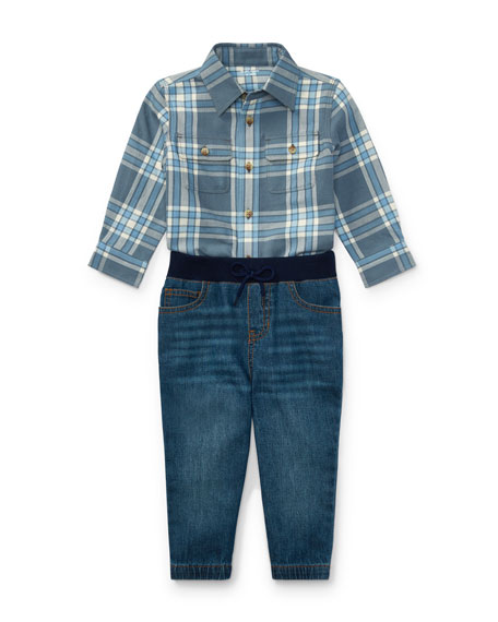 Ralph Lauren Childrenswear Twill Button-Down Shirt w/ Denim