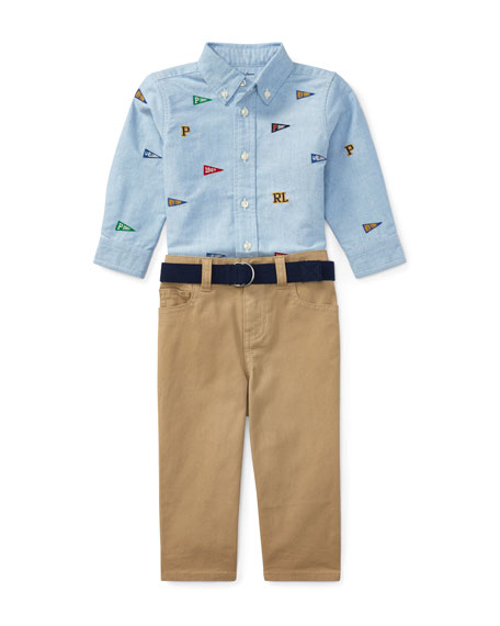 Ralph Lauren Childrenswear Oxford Layette Set, Size 9-24