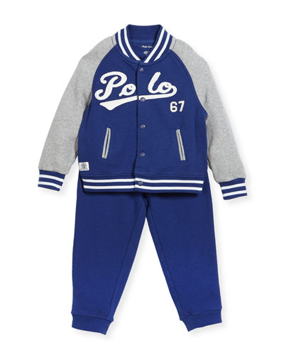 Lightweight Terry Baseball Jacket w/ Sweatpants, Size 9-24 Months