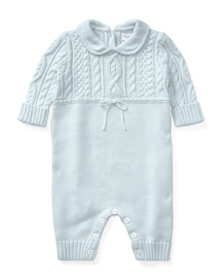 Ralph Lauren Childrenswear Cable-Knit Cotton Coverall, Blue, Size