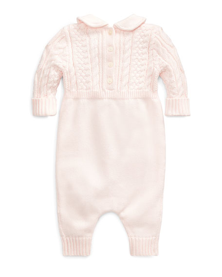 Cable-Knit Cotton Coverall, Pink, Size 3-9 Months