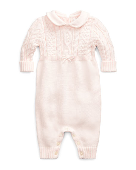 Ralph Lauren Childrenswear Cable-Knit Cotton Coverall, Pink, Size