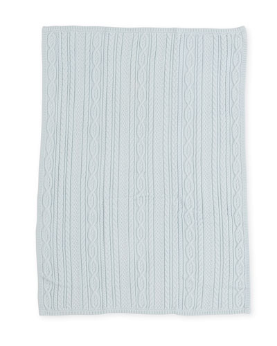 Cable-Knit Baby Blanket, Light Blue