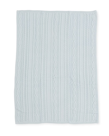Ralph Lauren Childrenswear Cable-Knit Baby Blanket, Light Blue