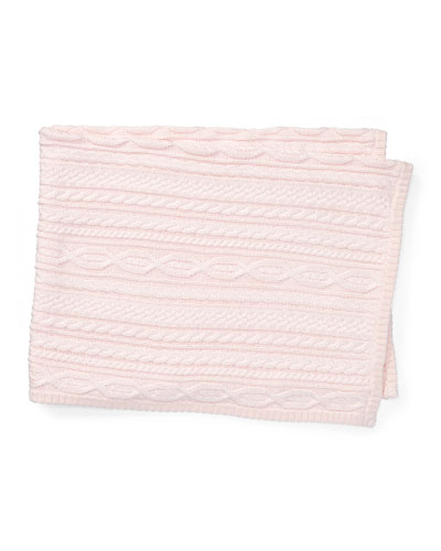 Cable-Knit Baby Blanket, Pink