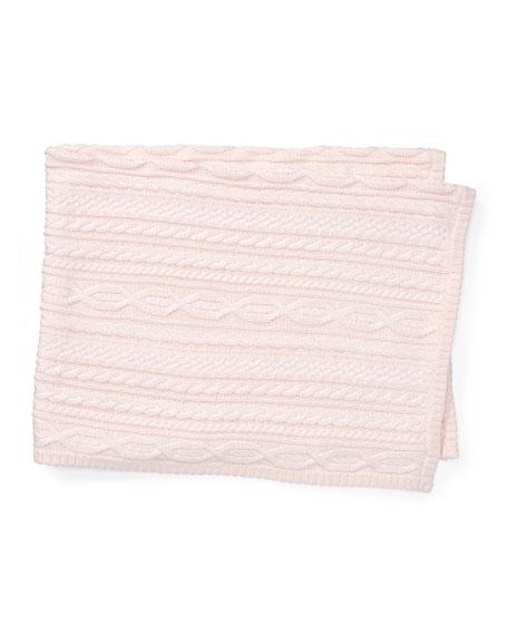 Ralph Lauren Childrenswear Cable-Knit Baby Blanket, Pink