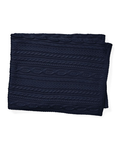 Cable-Knit Baby Blanket, Navy