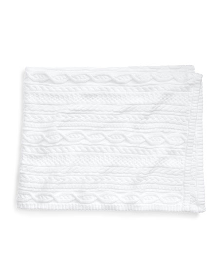 Ralph Lauren Childrenswear Cable-Knit Baby Blanket, White