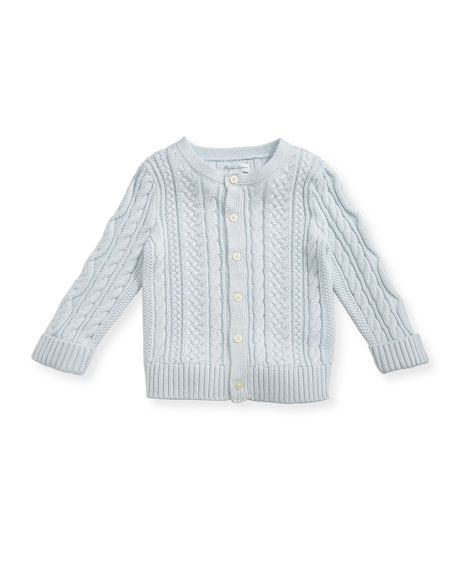 Soft Pearl Cotton Cable-Knit Cardigan, Blue, 6-24 Months