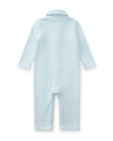 French Rib Shawl-Collar Coverall, Size Newborn-12 Months