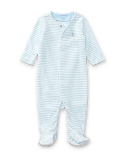 Velour Striped Footie Pajamas, Blue, Size Newborn-9 Months