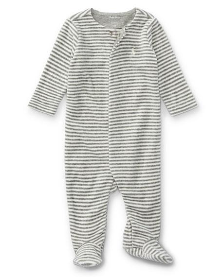 Ralph Lauren Childrenswear Velour Striped Footie Pajamas, Gray,