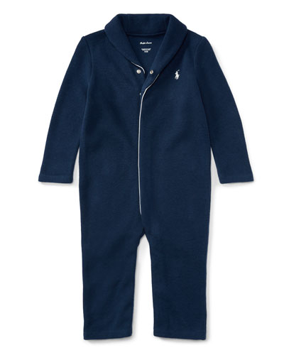 French Rib Shawl-Collar Coverall, Navy, Size Newborn-12 Months