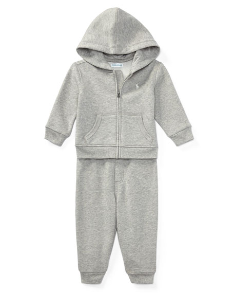 Fleece Zip-Up Hoodie w/ Sweatpants, Gray, Size 9-24 Months