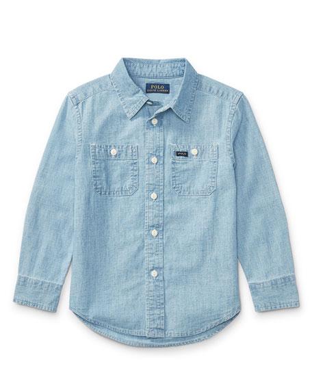 Ralph Lauren Childrenswear Long-Sleeve Chambray Work Shirt, Size