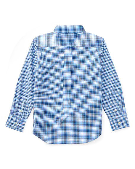 Poplin Plaid Button-Down Shirt, Blue, Size 2-4