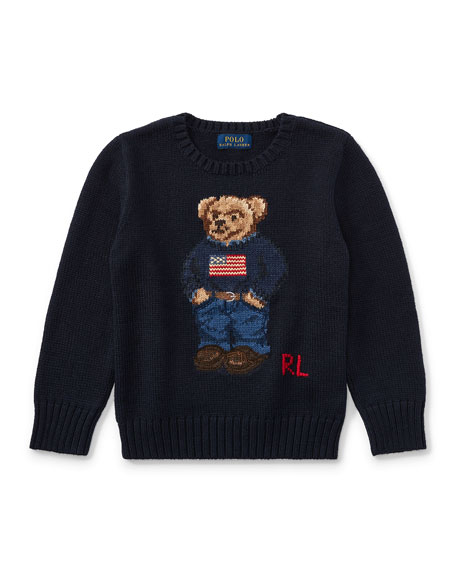 Ralph Lauren Childrenswear Cotton Bear Sweater, Size 2-4