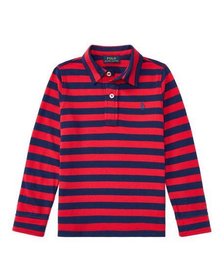 Long-Sleeve Striped Polo, Size 2-4