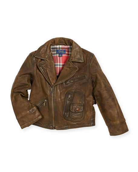 Ralph Lauren Childrenswear Leather Cafe Racer Jacket, Size