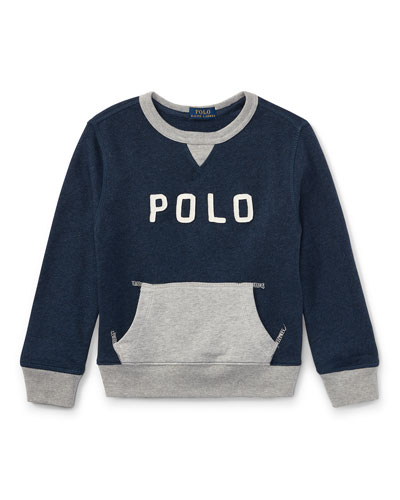 Lightweight Terry Two-Tone Graphic Sweatshirt, Size 2-4